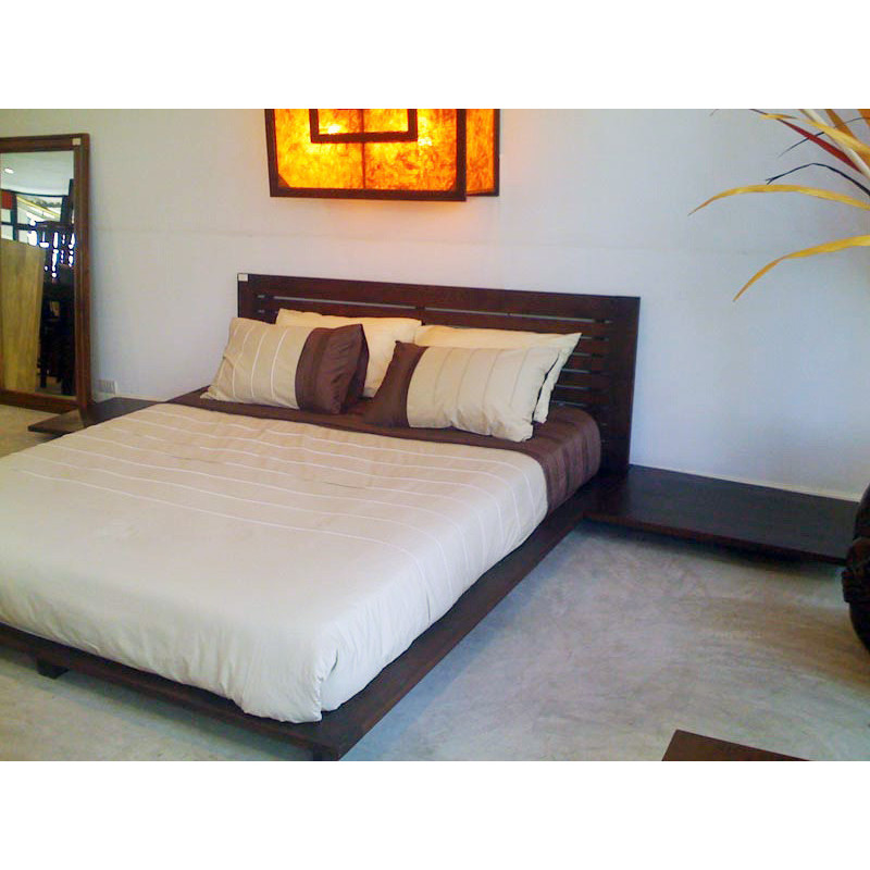 Contemporary Bed In Solid Teak Wood With Assorted Bedside Tables
