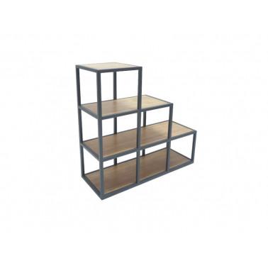 Shelf step rack in iron & wood
