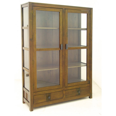Bookcase with 2 glazed doors & 2 drawers