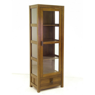 Glass case 1 door & 1 drawer with stripe pattern serie Guinea
