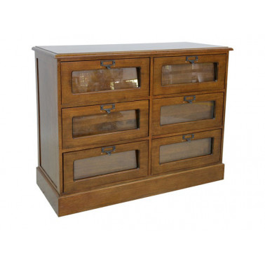chest of 6 drawers, glass...