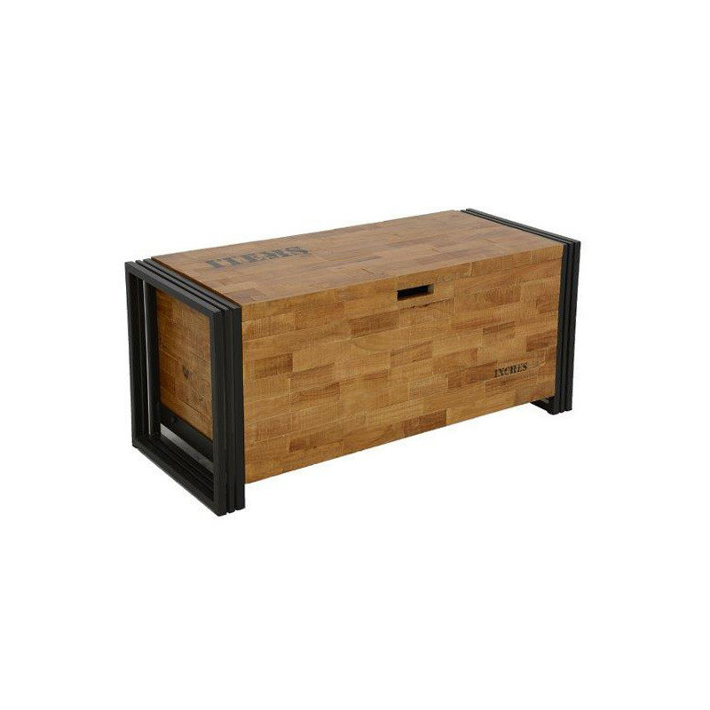 chest in solid wood and metal