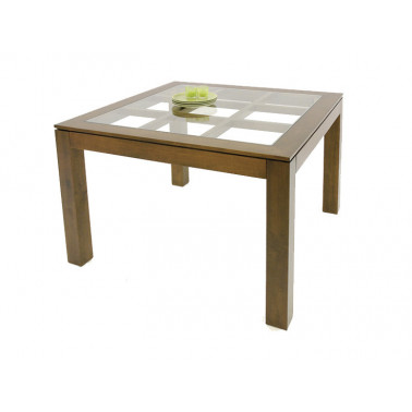 Squared dining table with glass top on an elegant lattice