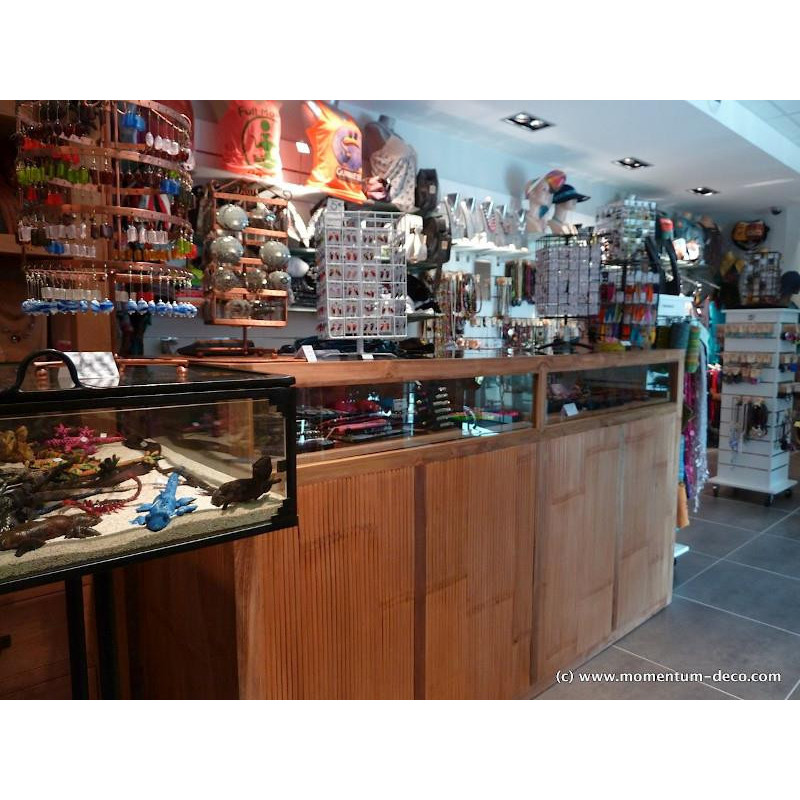 Retail counter in old teak and bamboo