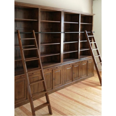 Sets of 2 attached bookshelves with ladder MO9084
