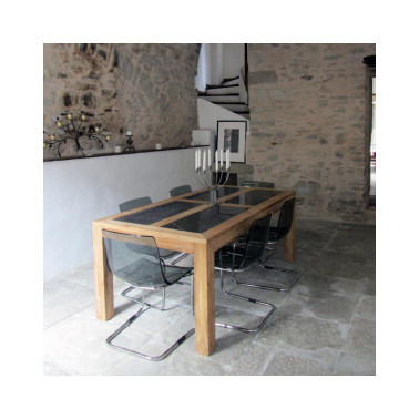 Dining table with natural stones top