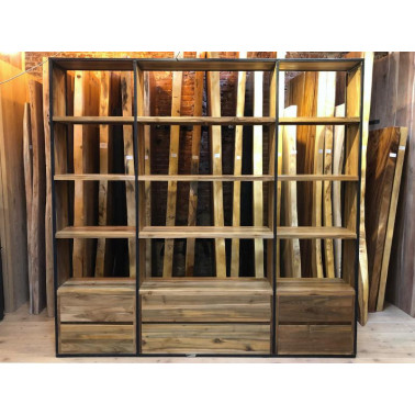 Bookshelf in reclaimed teak and iron