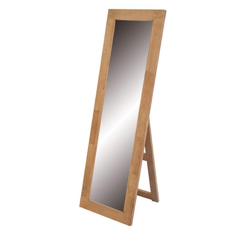Mirror with wooden frame in rubber wood