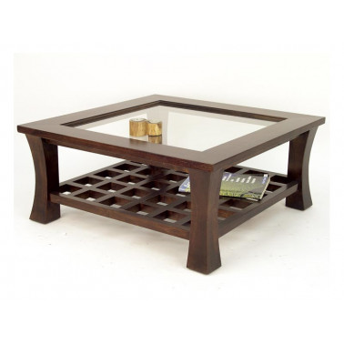 Low coffee table with glass...