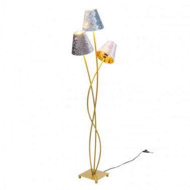 Floor Lamp Flexible 3 Arms 130cm Velvet and Gold KARE DESIGN