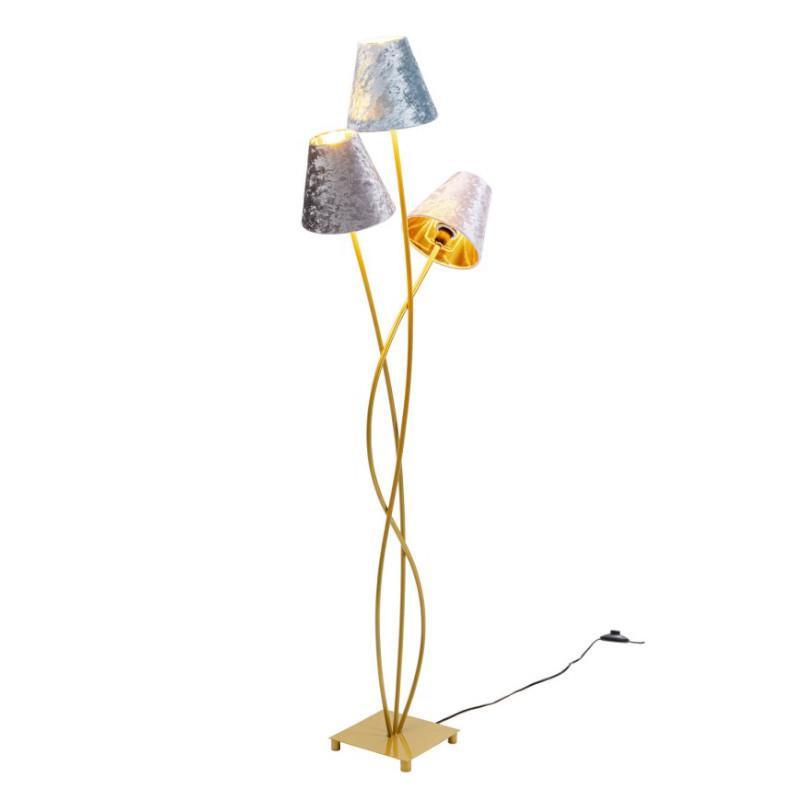 Floor Lamp Flexible 3 Arms 130cm Velvet and Gold KARE DESIGN