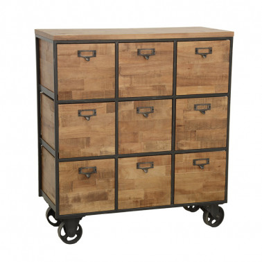 Chest of 9 drawers, on wheels