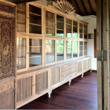 Bespoke office library in reclaimed teak wood