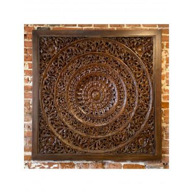 Teak panel, Hand carved