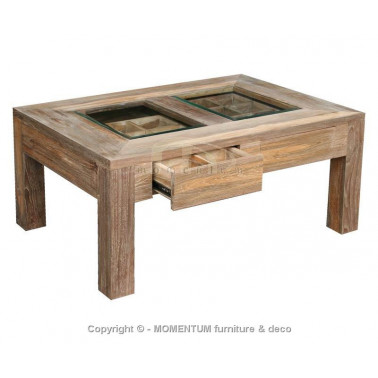 Coffee table 2 drawers with glass top
