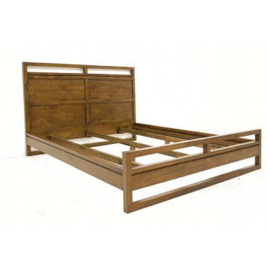 Contemporary Bed in Hevea Wood