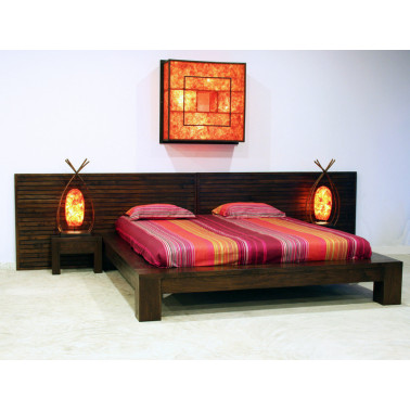 Fly Lit Cubique Couleur Teak Brown Matiere Teck Dimension 160x200
