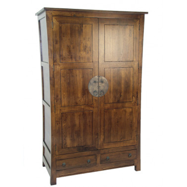 Chinese style wardrobe in solid hevea wood