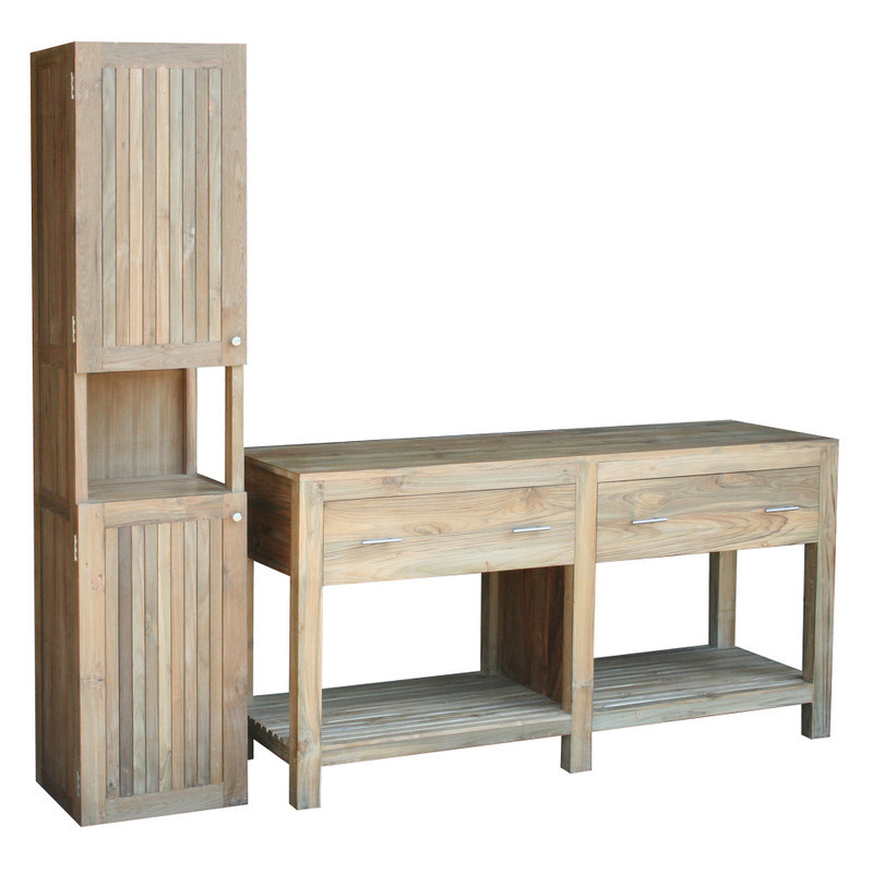 table bathroom 2 drawers for double wash basin