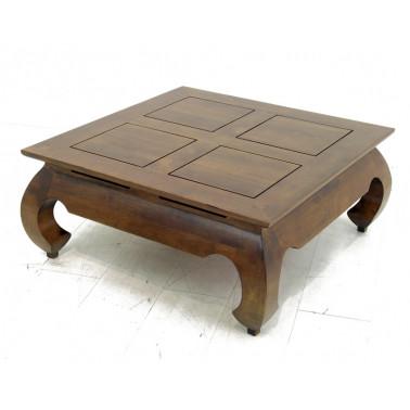 Opium coffee table in solid hevea wood