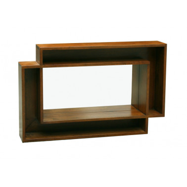 mirror & hevea frame with shelving