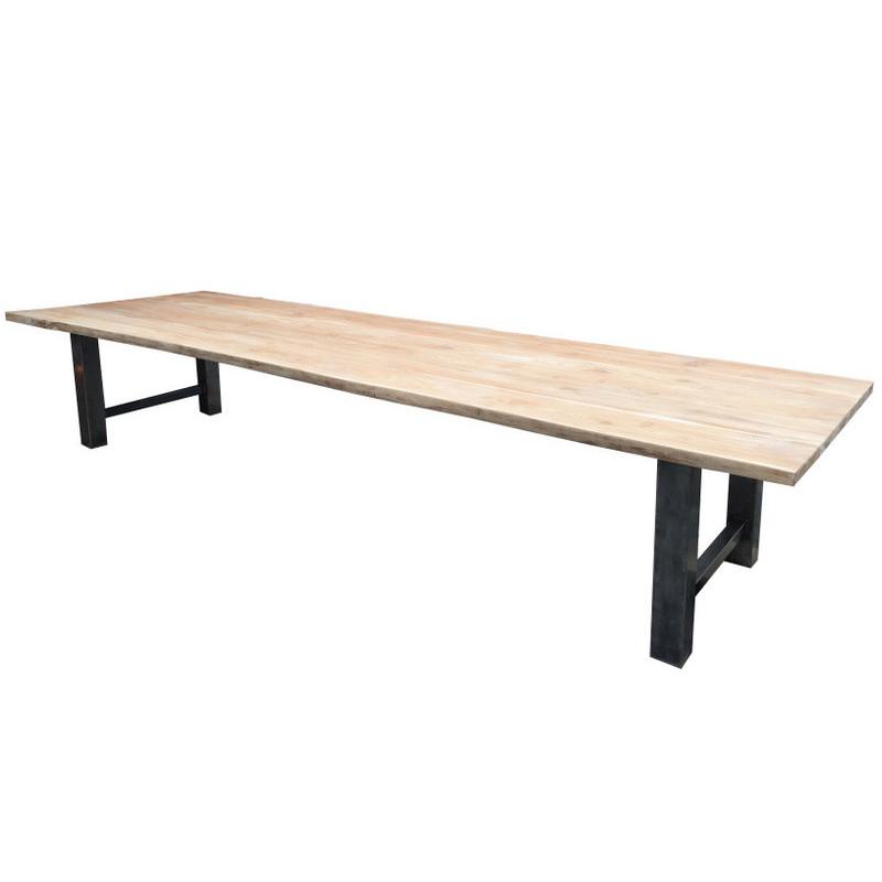 dining table in teak & iron
