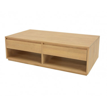 Coffee table 2 drawers sliding both sides