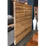 Room divider with teak slates and iron