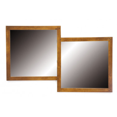 Double mirror with wooden...